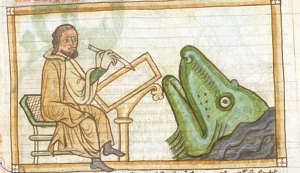 What might be the prophet Amos drawing a whale, though I don't know why he would do that.